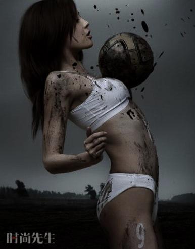 Chica Futbolista en ropa interior.